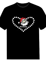 Men's New Fashion Club Christmas Music Dance Party Light Up Flashing EL panel Sound Activated LED T-shirt