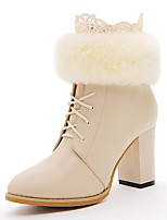 Women's Shoes Leather Chunky Heel Combat Boots Boots Party & Evening / Dress / Casual Black / Beige