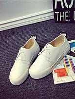 Scarpe Donna - Sneakers alla moda - Casual - Comoda / Punta arrotondata / Chiusa - Plateau - Di pelle - Nero / Bianco