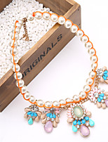 New Multilayer Pearl Gemstone Flower Teardrop Pendant Statement Necklace