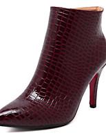 Scarpe Donna - Stivali - Formale - A punta / Stivali - A stiletto - Finta pelle - Nero / Borgogna