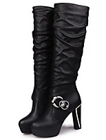 Women's Shoes Stiletto Heel Round Toe Boots Casual Black / White