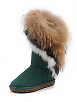 Women's Shoes Leather Flat Heel Snow Boots Boots Outdoor / Casual Black / Brown / Green