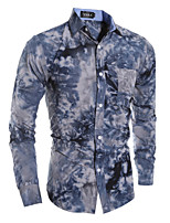 Men's Casual Snowflake Printed Long Sleeved Shirt , Cotton / Polyester Casual Print