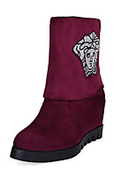 Women's Shoes Leatherette Wedge Heel Wedges / Round Toe Boots Outdoor / Office & Career / Casual Black / Blue / Burgundy
