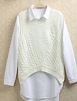 Women's Solid Pink / Black / Beige / Gray Vest , Casual Sleeveless