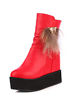 Women's Shoes Leatherette Wedge Heel Wedges /  Round Toe Boots Outdoor / Office & Career / Casual Black / Red / White