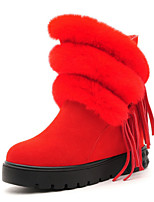 Women's Shoes Leather Flat Heel Snow Boots / Fashion Boots Boots Office & Career / Casual Black / Red
