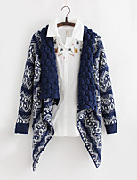 Women's Geometric Blue / White Cardigan , Vintage Long Sleeve