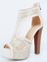 Women's Shoes Chunky Heel Peep Toe Sandals Party & Evening / Dress / Casual Beige