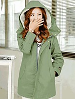 Women's Solid Green Parka Coat , Casual Hooded Long Sleeve