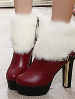 Chaussures Femme - Décontracté - Rouge - Gros Talon - Bout Pointu - Bottes - Similicuir