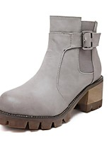 Zapatos de mujer - Tacón Robusto - Botas Anfibias / Punta Redonda - Botas - Exterior / Casual - Semicuero - Negro / Gris