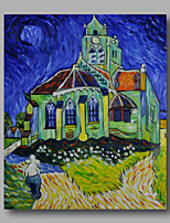 prêt à accrocher étiré la peinture à l'huile abstraite toile van peint à la main la nuit de l'église repro gogh un panneau