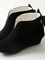 Women's Shoes Leatherette Flat Heel Round Toe Boots Casual Black / Pink / Gray