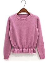 Women's Fashion Casual Ruffle Cashmere Pullover Knit Sweater