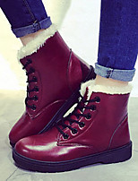 Women's Shoes Winter Warm Low Heel Comfort / Round Toe Boots Casual Black / White / Burgundy