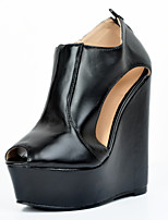 Women's Shoes Leatherette Wedge Heel Wedges / Peep Toe Heels Party & Evening / Dress / Casual Black