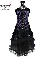 Burvogue Women's Sexy Halloween Burlesque Stripe Corset with Princess Party Dress Lingerie Skirt