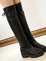 Women's Shoes Leatherette Low Heel Fashion Boots / Round Toe Boots Party & Evening / Dress / Casual Black