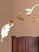 Birds  and Feather DIY Mirror Acrylic Wall Stickers Wall Decals