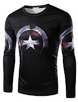 Men's Fashion America Captain Printed Long-Sleeve T-Shirt
