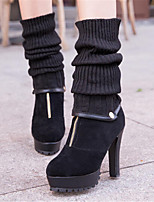Women's Shoes Stiletto Heel Round Toe Boots Casual Black / Yellow