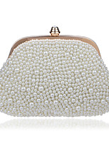 Women Polyester / Metal Minaudiere Clutch / Evening Bag - Beige