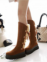 Women's Shoes Leatherette Flat Heel Round Toe Boots Casual Black / Brown