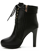 Women's Shoes Stiletto Heel Round Toe Boots Casual Black