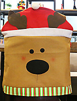 Santa Hat Elk Cartoon Chair Cover for Christmas Dinner Table Party Decoration