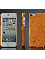 For iPhone 5 Case Card Holder Case Back Cover Case Solid Color Hard PU Leather iPhone SE/5s/5