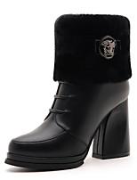 Chaussures Femme - Bureau & Travail / Décontracté - Noir / Beige - Gros Talon - Talons / Bottes à la Mode - Bottes - Similicuir