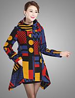 Women's Print / Polka Dot Blue / Green Coat , Party / Plus Sizes Long Sleeve Wool / Polyester
