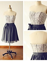 Knee-length Chiffon / Lace Bridesmaid Dress - Silver A-line Sweetheart