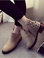 Women's Shoes Leatherette Chunky Heel Round Toe Boots Casual Black / Gray / Khaki