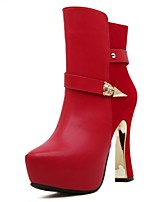 Women's Shoes  Chunky Heel Round Toe / Closed Toe Boots Office & Career / Dress / Casual Black / Red