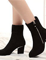 Women's Shoes Chunky Heel Pointed Toe Boots Casual Black / Red