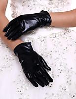 Até o Pulso Com Dedos Luva Couro Sintético Luvas de Noiva Todas as Estações Pregueados