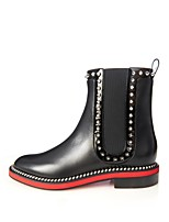 Women's Shoes Leather Flat Heel Fashion Boots / Combat Boots Boots Office & Career / Party & Evening / Dress Black