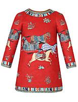 Girl's Vogue  Cotton Blend Fall/Winter Fall/Spring Dream Horse Printing Princess Dress