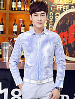 Men's Long Sleeve Slim Lapel Shirt , Pure Cotton Casual / Work / Formal Striped
