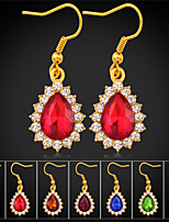 Instyle New Luxury 18K Gold Plated SWA Rhinestone Crystal Fancy Stone Earrings Ruby High Quality