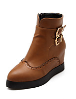 Women's Shoes Low Heel Pointed Toe / Closed Toe Boots Office & Career / Dress / Casual Black / Brown / Red / Gray