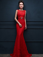 Formal Evening Dress - Ruby Trumpet/Mermaid Scoop Sweep/Brush Train Lace