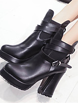 Women's Shoes Chunky Heel Pointed Toe Boots Casual Black / Red / White