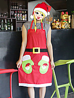 Santa Flannelette Gloves Apron for Christmas Party Home Decoration
