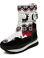 Women's Shoes Taffeta Wedge Heel Snow Boots Boots Office & Career / Dress / Casual Brown / Red