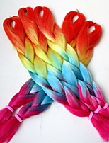 Rainbow Color Orange+Yellow+Blue+Purple100G 24inch Ombre Colored Kanekalon Jumbo Braiding Synthetic Hair