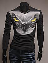 Men's Long Sleeve T-Shirt , Cotton Blend Casual Print